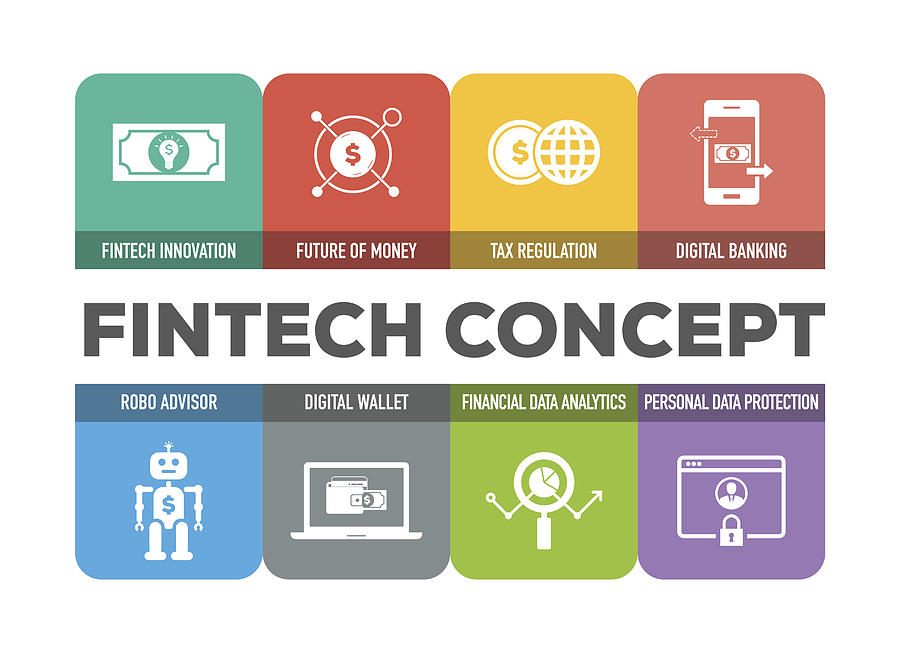 Fintech Concept Colorful Icons Set Drawing by Cnythzl