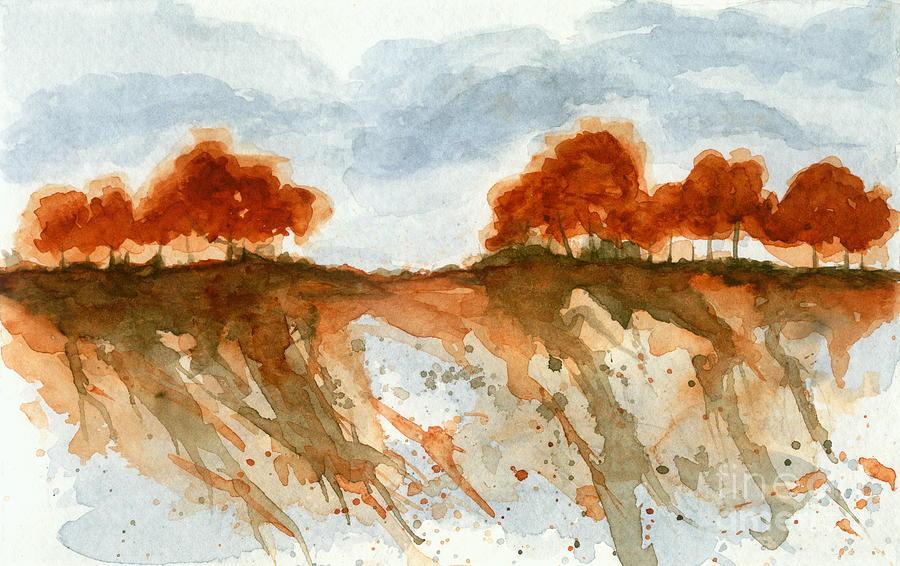Watercolor Landscape Painting - Fire Branch Ridge Watercolor Trees Landscape by Itaya Lightbourne
