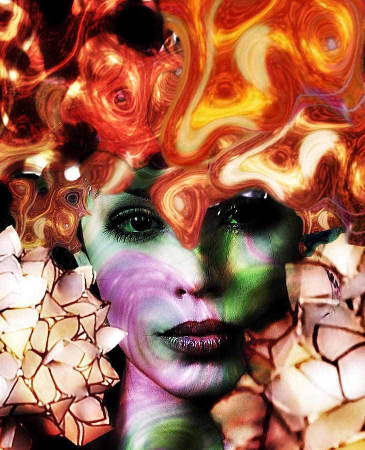 Surrealism Digital Art - Fire girl  by Gunilla Munro Gyllenspetz