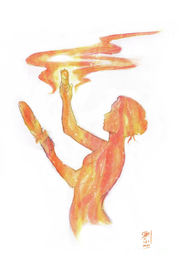 Watercolor Painting - Fire Medicine by Brandy Woods