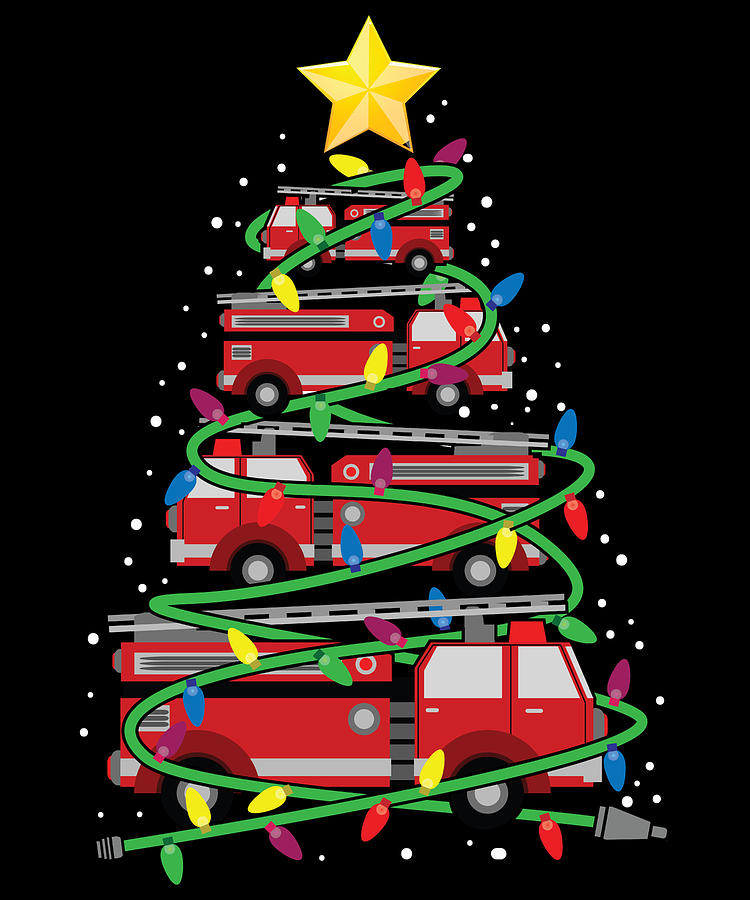 Stocking Stuffer Digital Art - Firefighter Firetruck Christmas Tree by Michael S