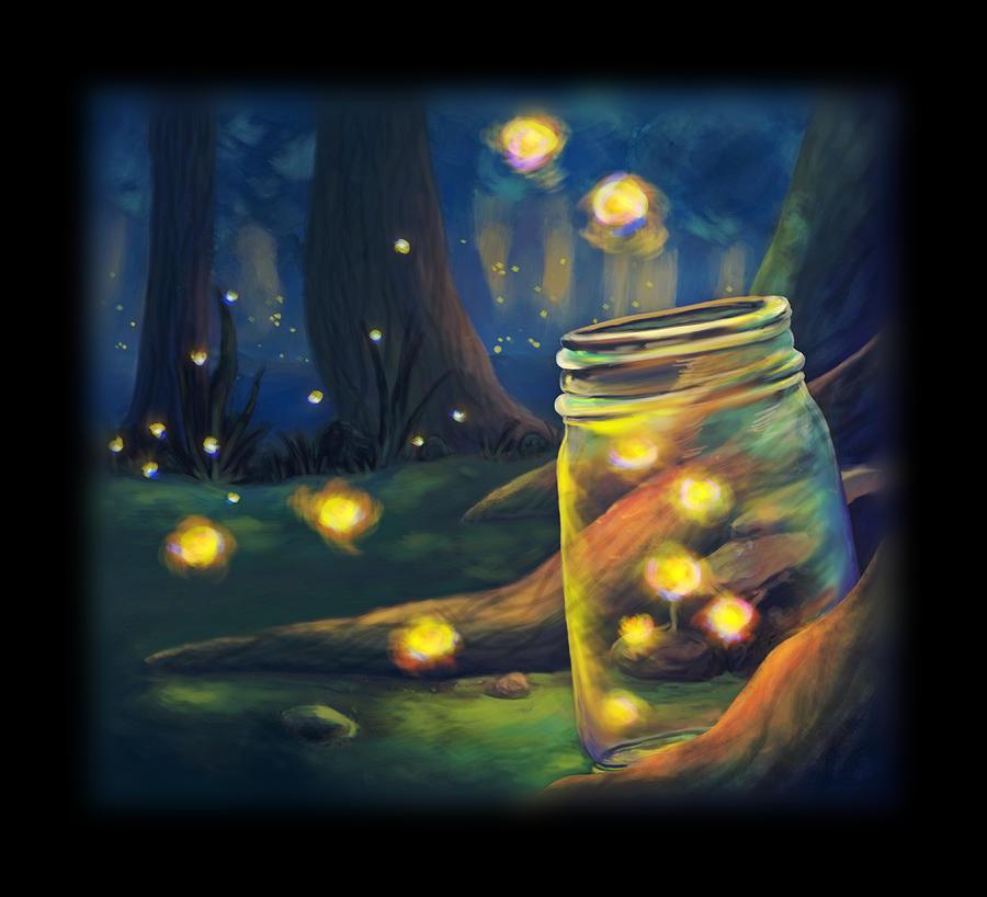 Fireflies Digital Art - Firefly Night by Brianna Moore