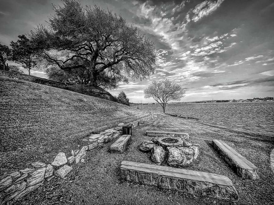 Firepit View On Lake Granbury Black And White Photograph