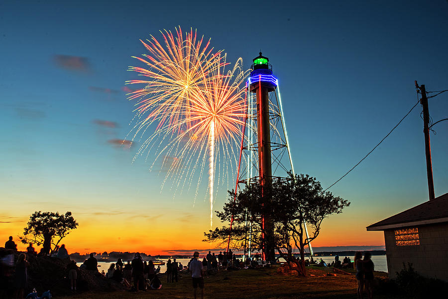 Fireworks Over the Marblehead Light Tower Marblehead MA Sunset Glow Chandler Hovey Park by Toby McGuire