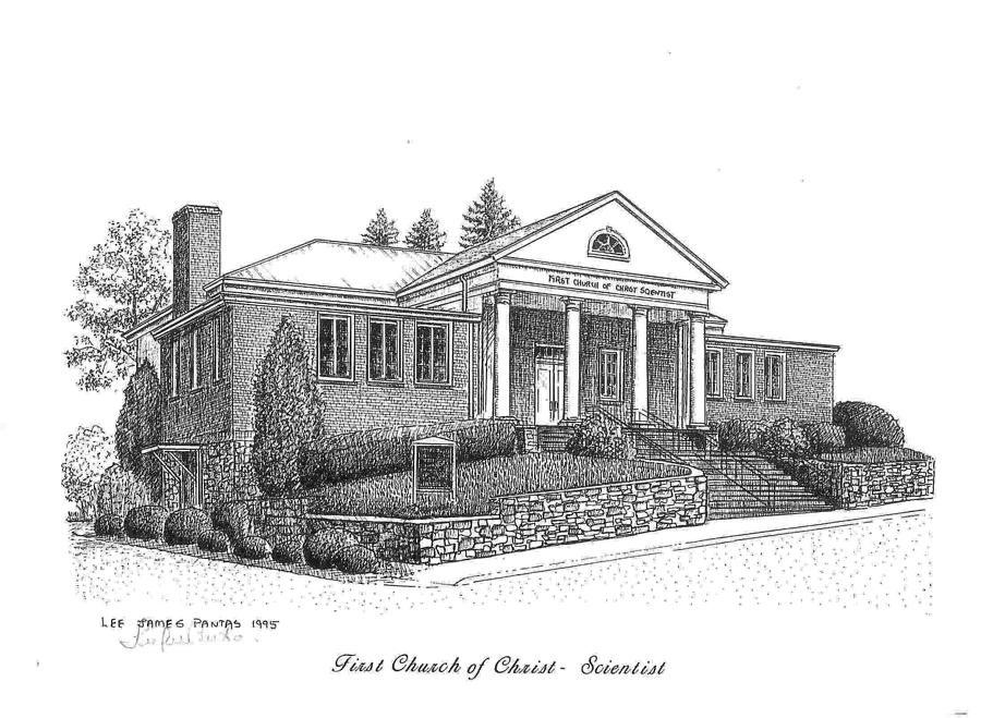 Church Drawing - First Church of Christ Scientist by Lee Pantas