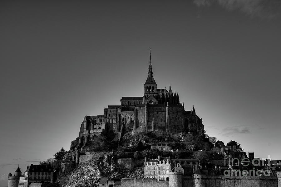 First Impressions Mont Saint Michel Normandy France BW by Wayne Moran