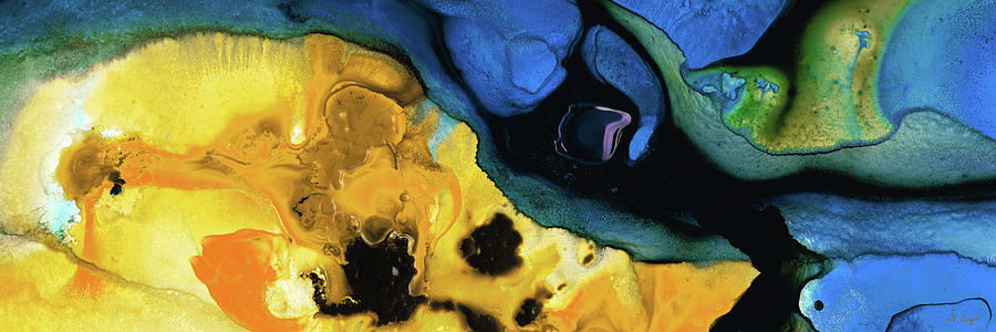 Yellow Painting - First Light - Blue and Yellow Abstract Art - Sharon Cummings by Sharon Cummings