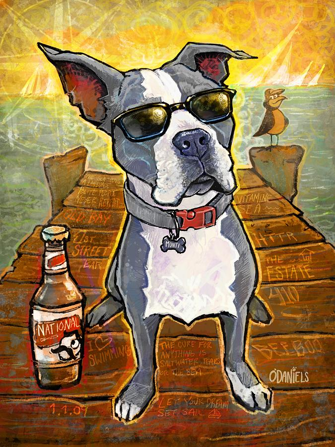 Blue Pitbull Painting - First Mate Monti by Sean ODaniels