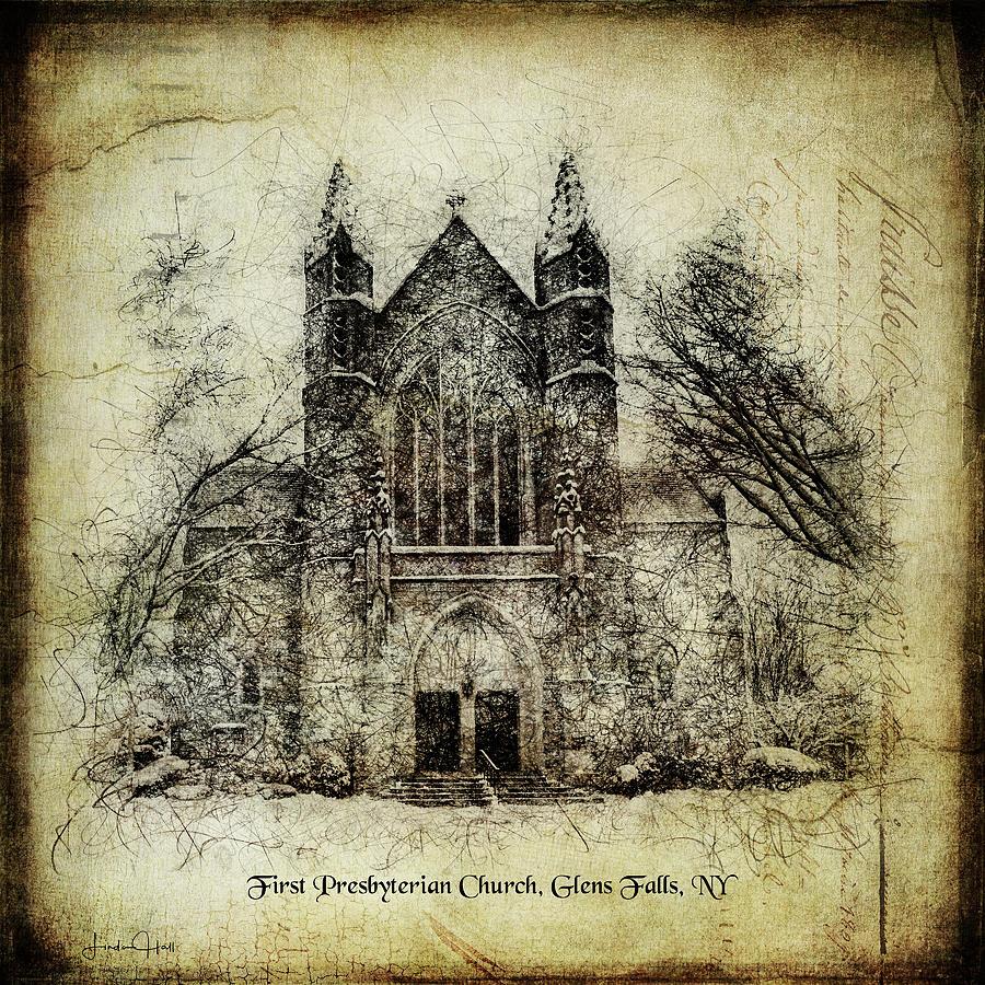 Digital Digital Art - First Presbyterian Glens Falls by Linda Lee Hall