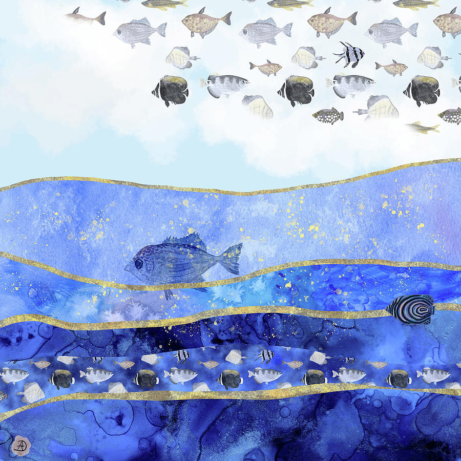 Climate Change Digital Art - Fish in the Sky - Surreal Climate Change by Andreea Dumez