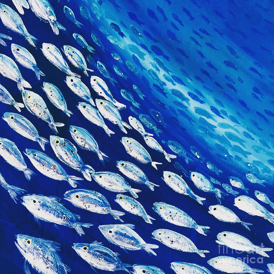 Ocean Painting - Fish Swirl by Midge Pippel