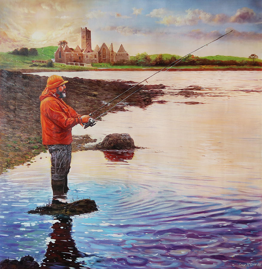 Fisherman At Rosserk Abbey, Co.mayo Painting