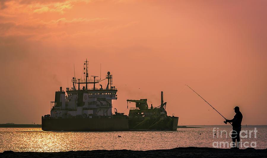 Fishing At Sunset by Jola Martysz