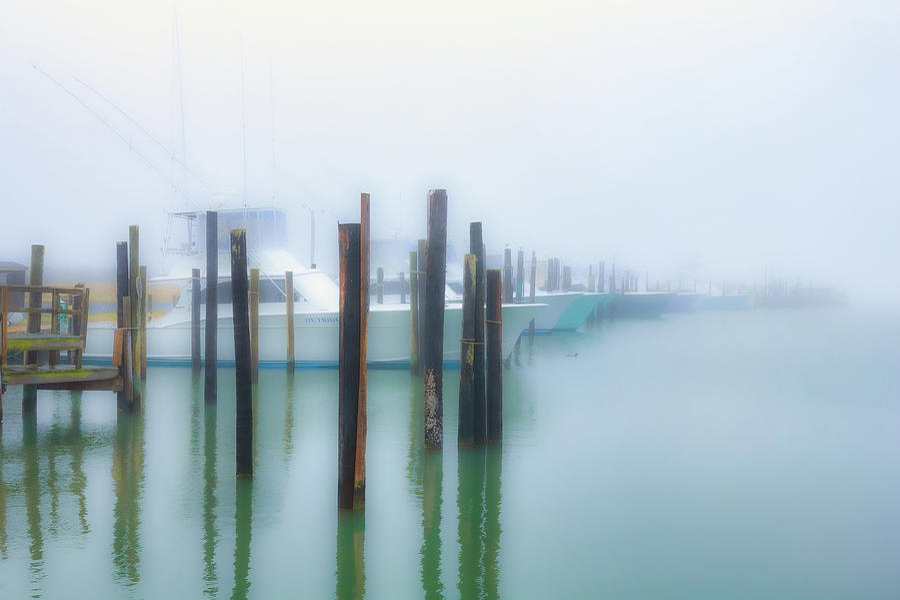 Fishing Boats in Morning Fog Horiz LS by Dan Carmichael