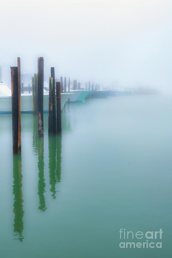 Fishing Boats in Morning Fog Vertical by Dan Carmichael