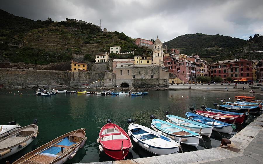 Fishing Port With Boats At The Village Of Vernazza Riomaggiore, Cinque Terre, Liguria, Italy Photograph