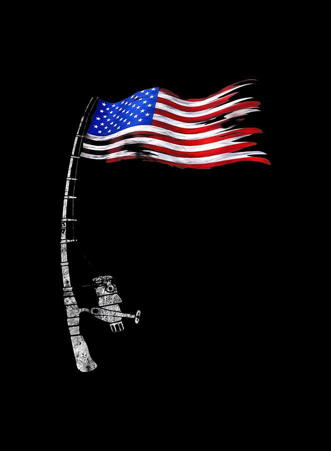 Fishing Rod American Flag Digital Art