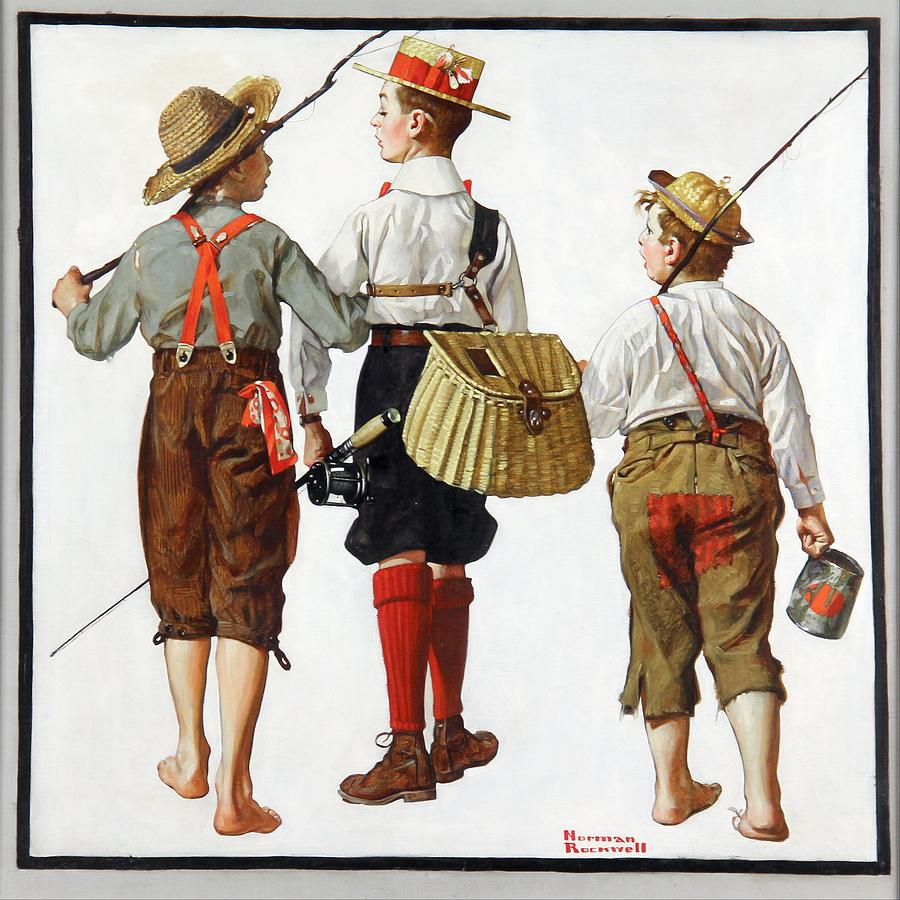 Norman Rockwell Painting - Fishing Trip, Theyll Be Coming Back Next Week, 1919 by Norman Rockwell