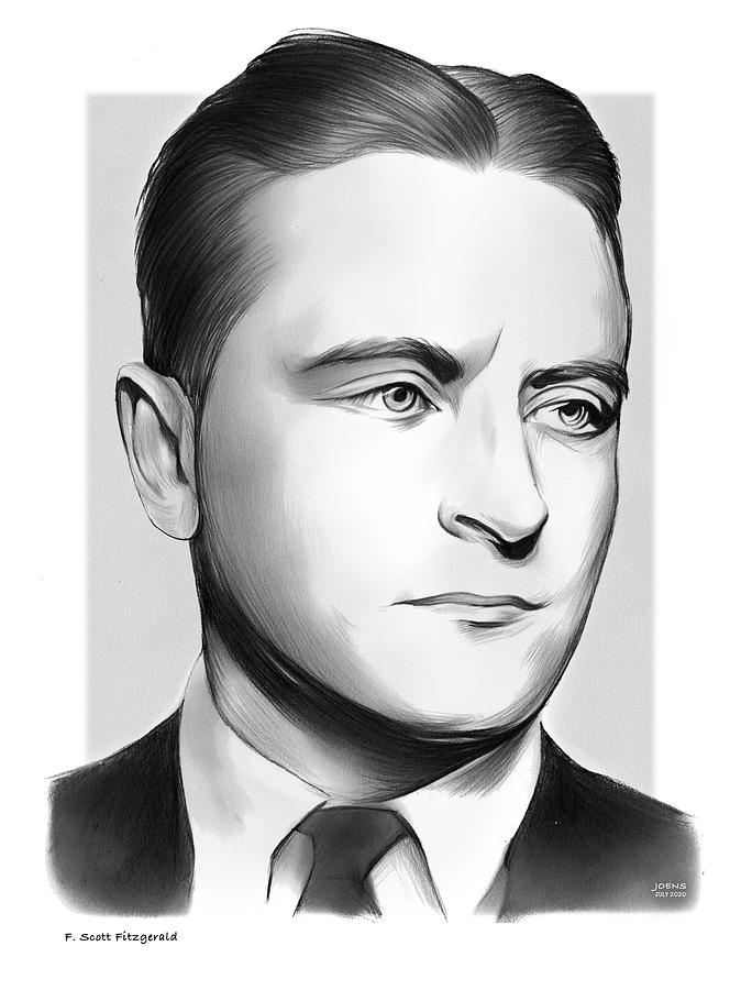 F. Scott Fitzgerald Drawing - Fitzgerald Pencil by Greg Joens
