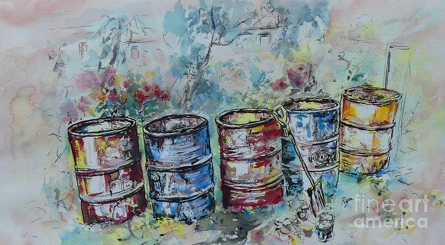 Watercolor Painting - Five Rustic Drums by Ryn Shell