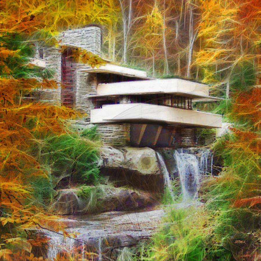 Frank Lloyd Wright Digital Art - Fixer Upper - Square Version - Frank Lloyd Wrights Fallingwater by John Robert Beck