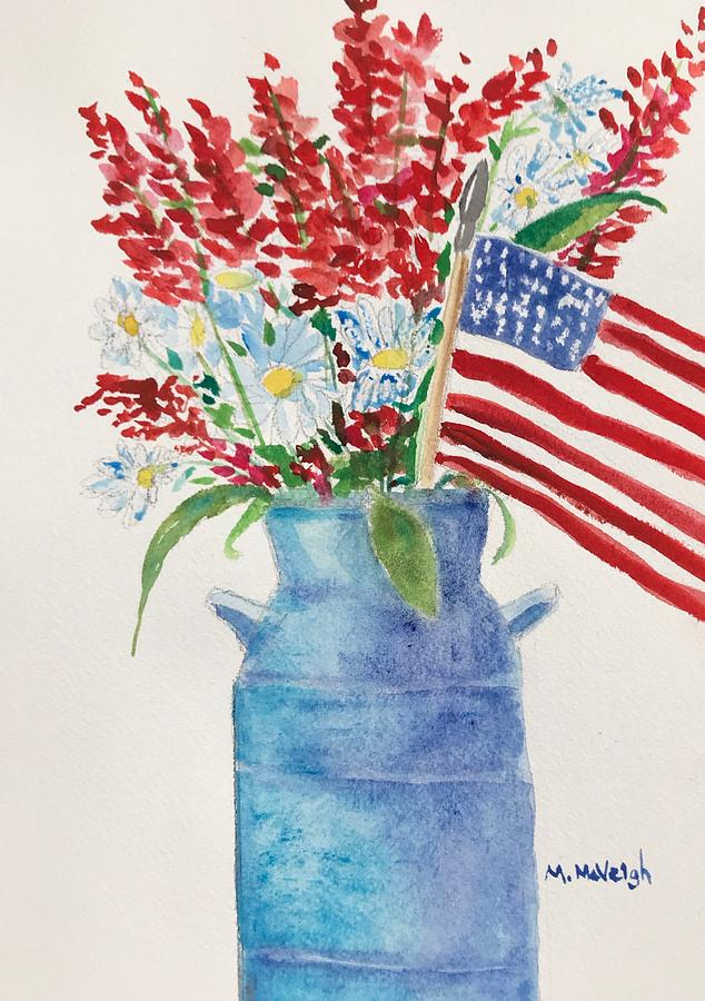 Red White Blue Painting - Flag Day Bouquet by Marita McVeigh