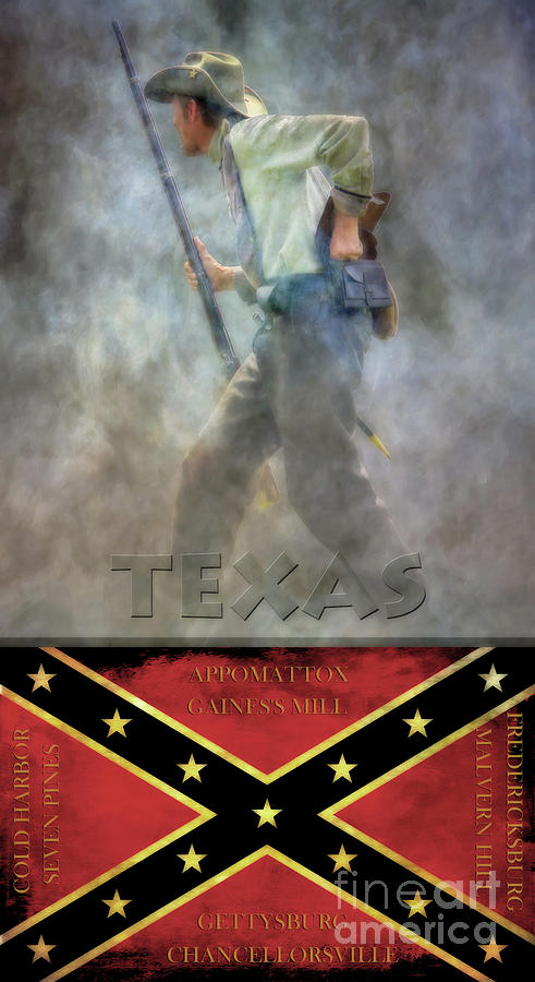 Flags Of The Confederacy Texas Digital Art