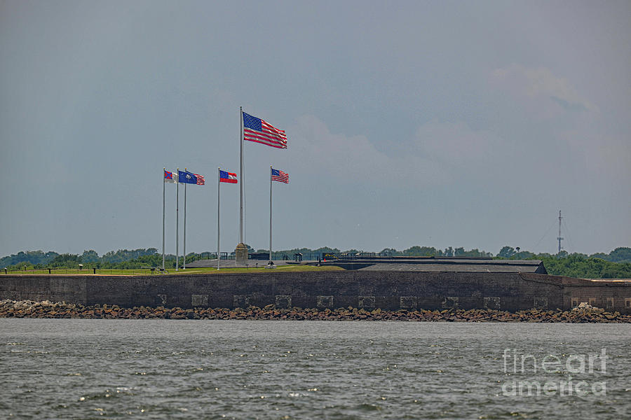 Flags Over Fort Sumter - Charleston South Carolina Photograph