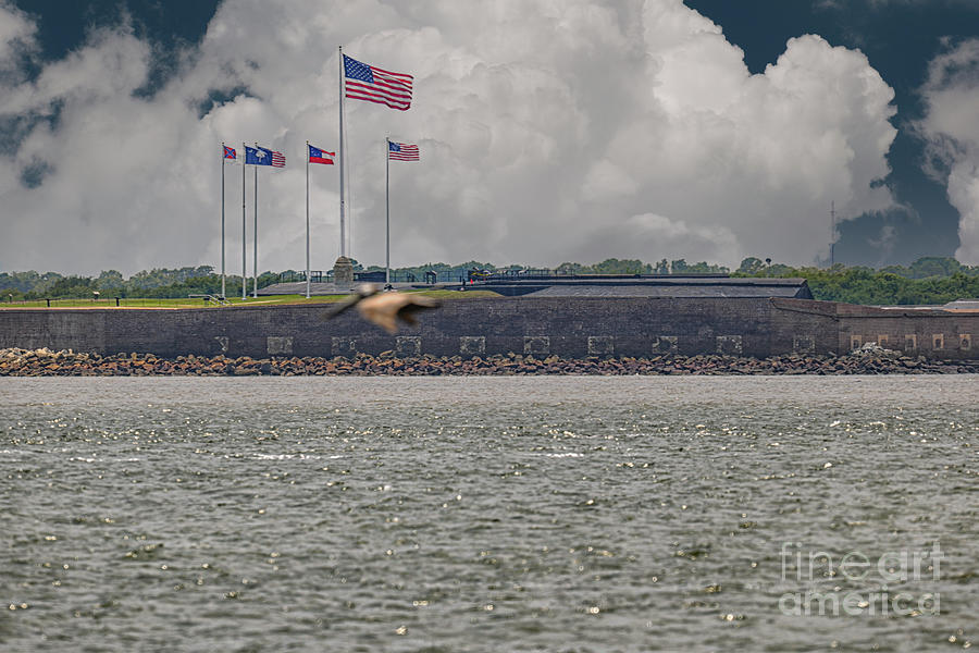 Flags Over Fort Sumter - Civil War - Charleston South Carolina Photograph