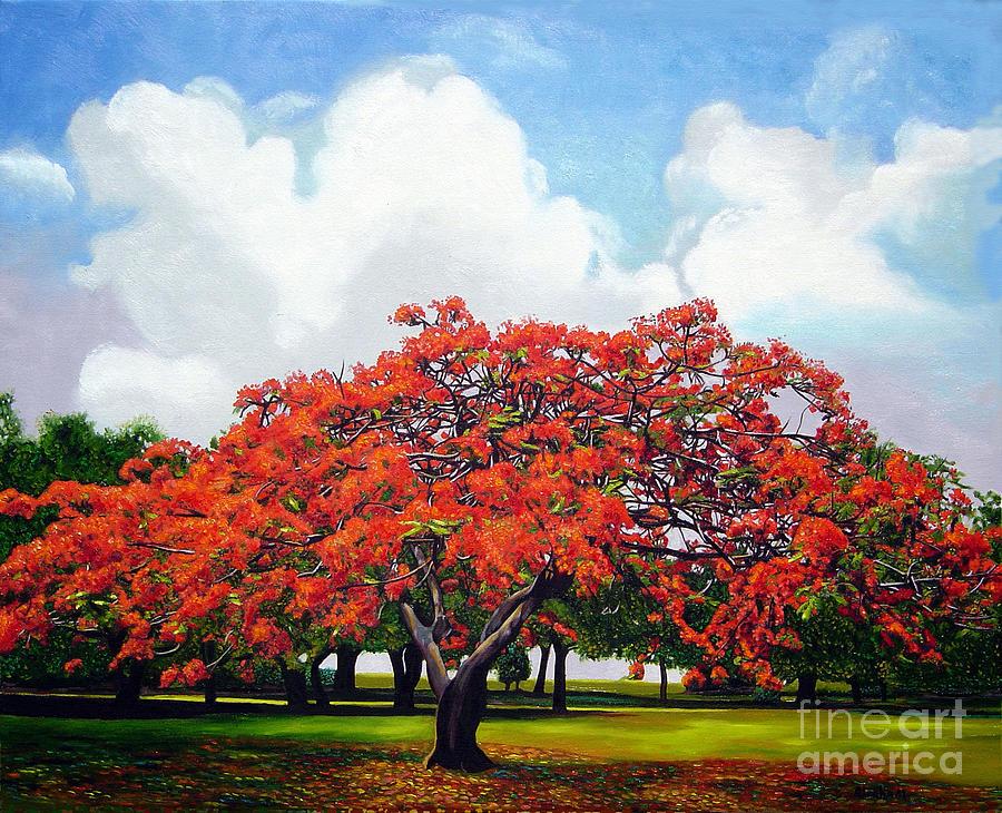 Red Tree Painting - Flamboyan by Jose Manuel Abraham