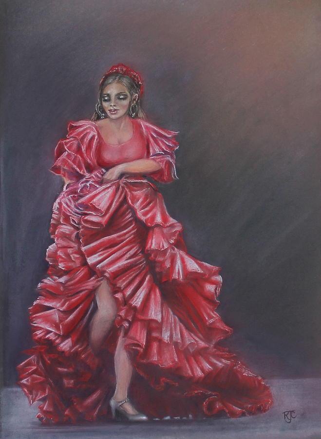 Handmade Pastel - Flamenco Dancer in Granada by Rosemary Colyer