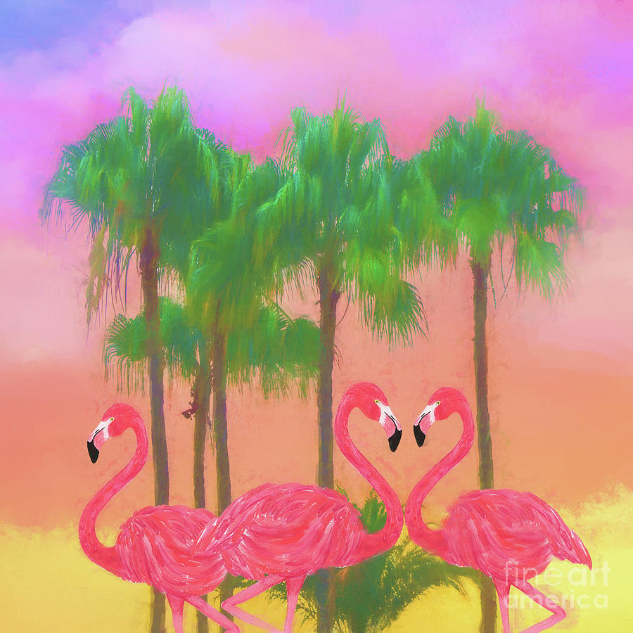 Flamingo Amigos Mixed Media