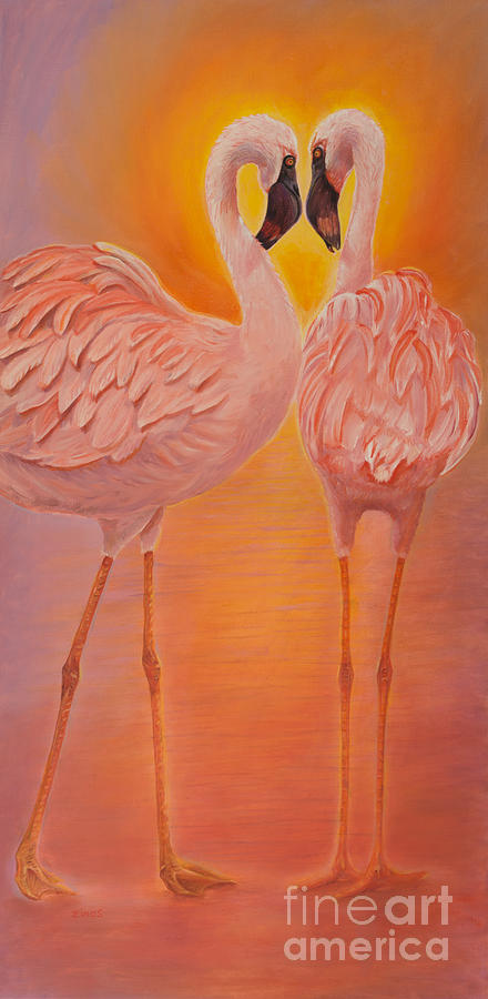 Flamingos Love Dance by Zina Stromberg