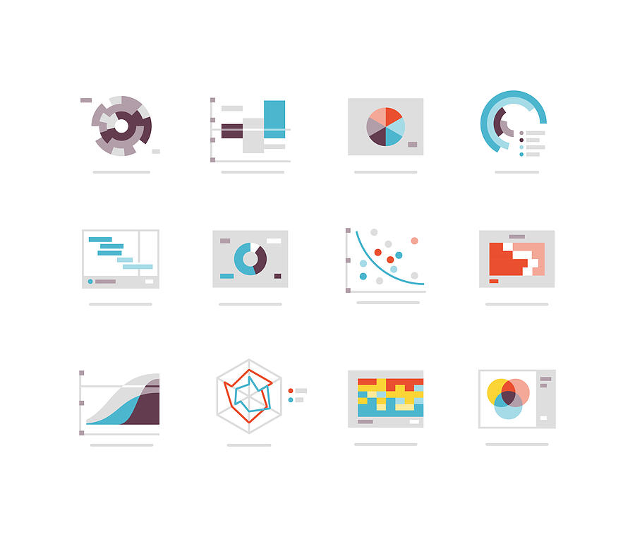 Flat charts and graph icon series Drawing by SpiffyJ