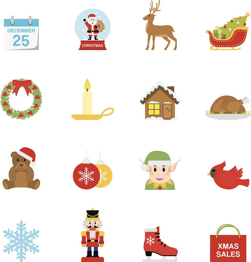 Flat Christmas icons   Simpletoon series Drawing by Runeer