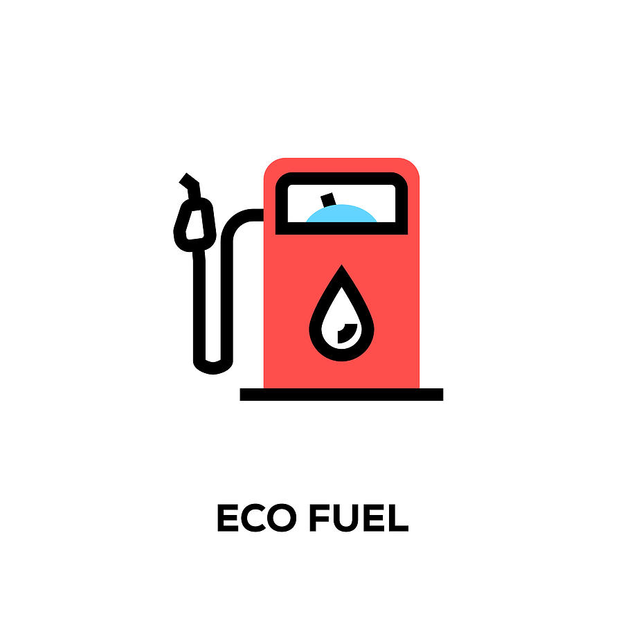 Flat line design style modern vector Eco Fuel icon Drawing by Cnythzl