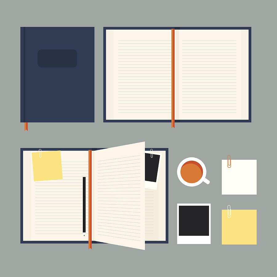 Flat notebook set Drawing by Rustemgurler
