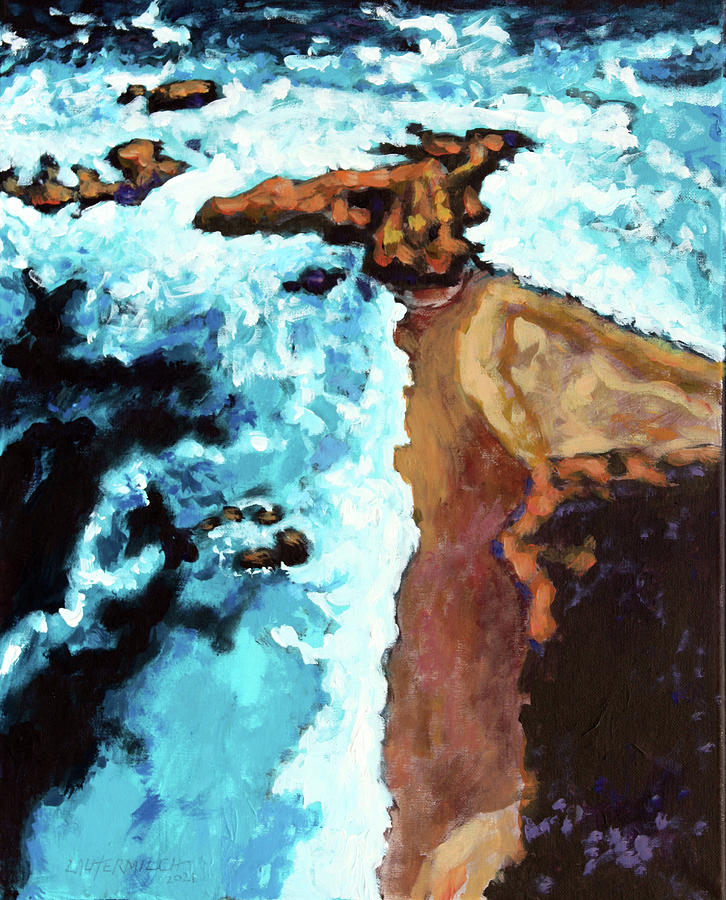 Ocean Painting - Flight Over Ocean by John Lautermilch