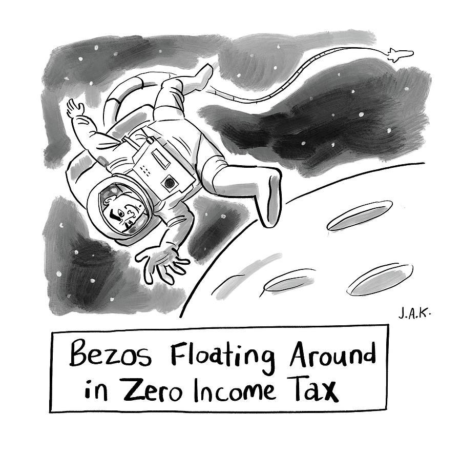 Floating Around In Zero Income Tax Drawing by Jason Adam Katzenstein