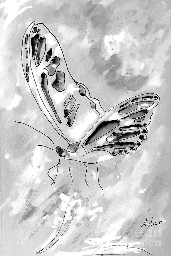 Floating Butterfly 1 Pen And Ink With Watercolor Bw Digital Art Digital Art