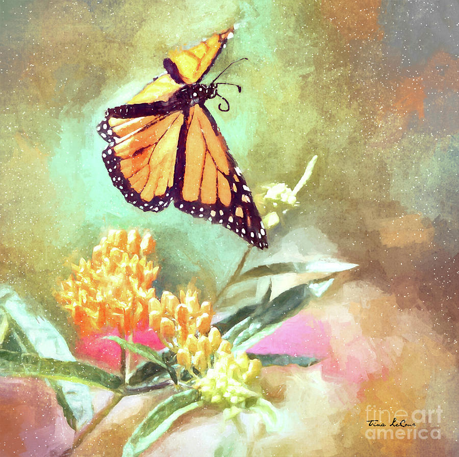 Floating Monarch Mixed Media