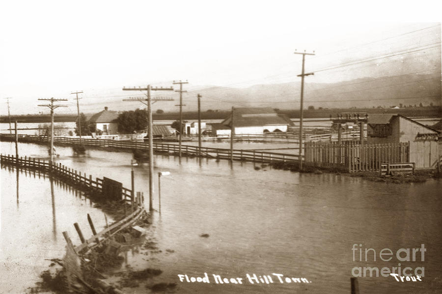 Flood mear Hill Town, Salinas Circa 1914 by California Views Archives Mr Pat Hathaway Archives