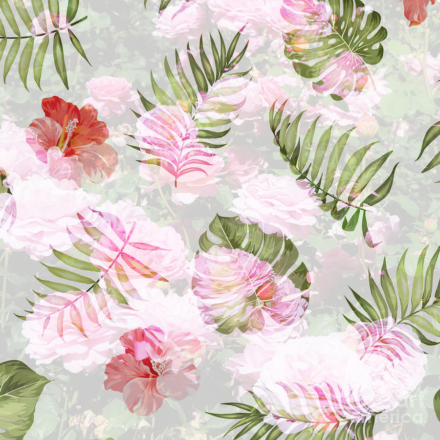 Floral Botanical Pattern In Pink And Green Photograph