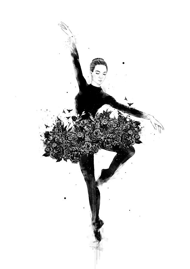 Ballet Drawing - Floral dance by Balazs Solti