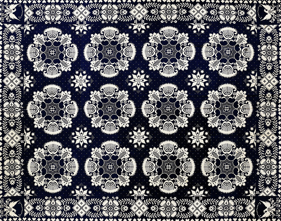 Floral Fabric Vintage Gift Pattern Black by John Williams