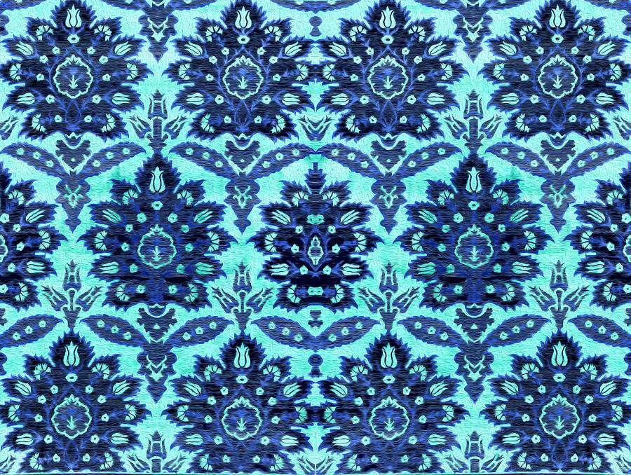 Floral Fabric Vintage Gift Pattern Blue by John Williams