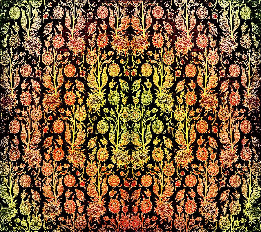 Floral Fabric Vintage Gift Pattern Orange by John Williams