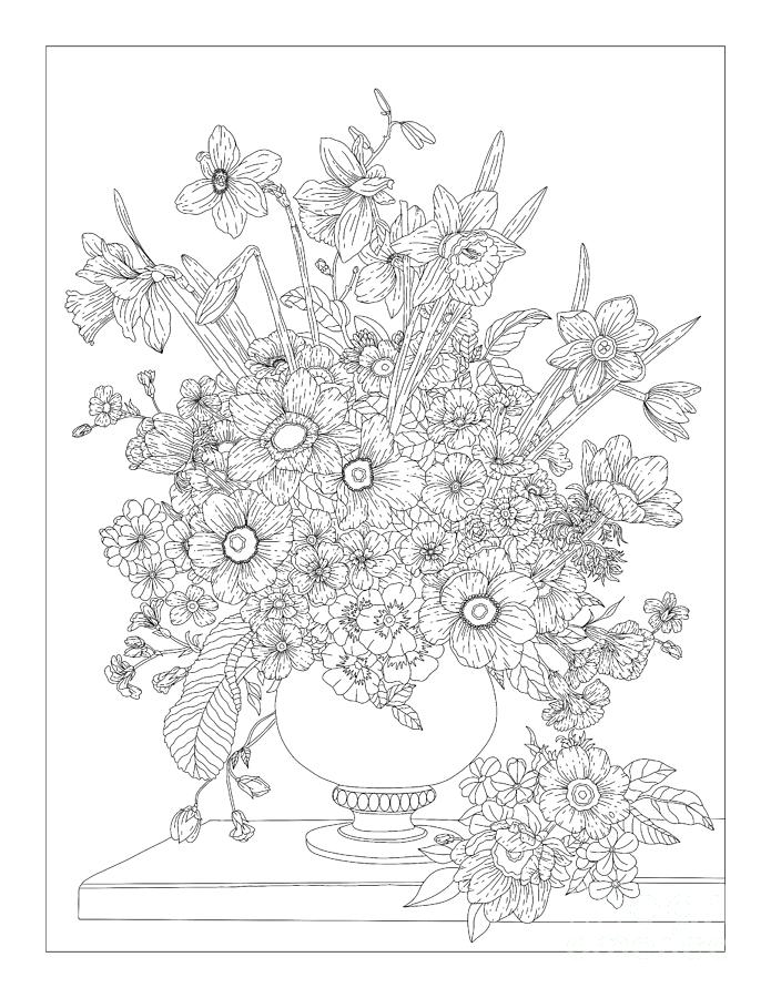 Floral Fantasy Flower Vase Coloring Page Drawing By Lisa Brando