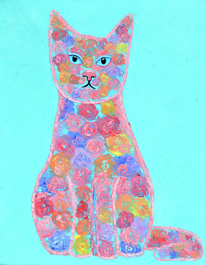 Floral Kitty Cat Painting