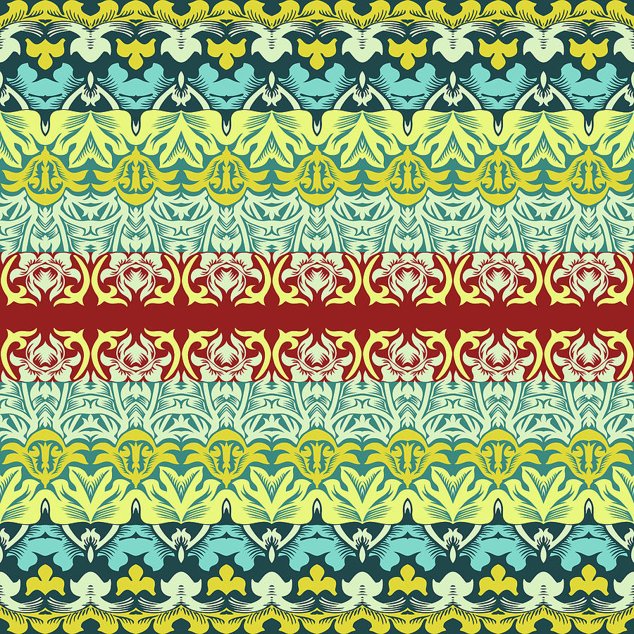 Floral Ornamental Seamless Pattern Drawing